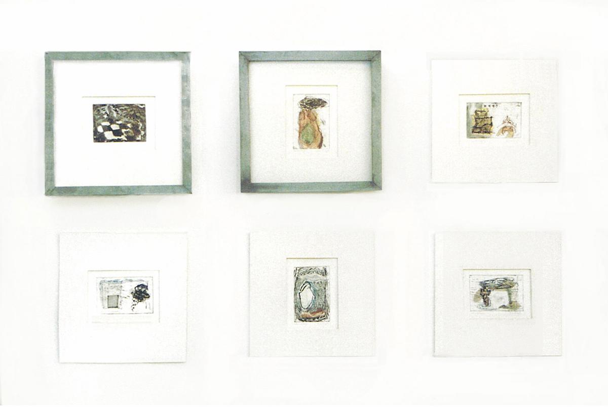 Gesoldeerde zinken dozen van 20-20 cm met ieder 10 etscollages 1995