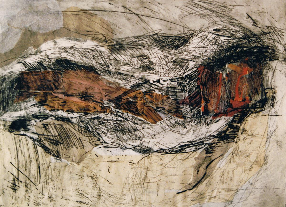 Landschap III Etscollage 50-60cm 1990