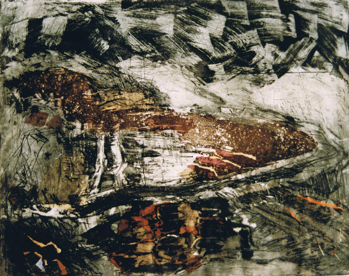 Landschap IV Etscollage 50-60cm 1990